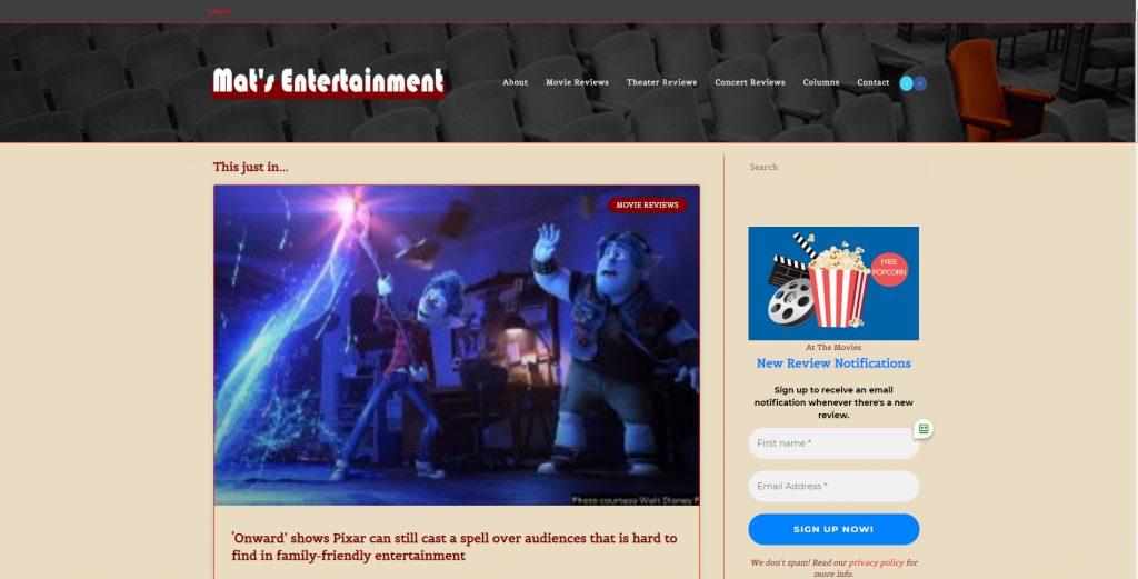 Mat's Entertainment, St. Louis movie critic | HBB Website Solutions