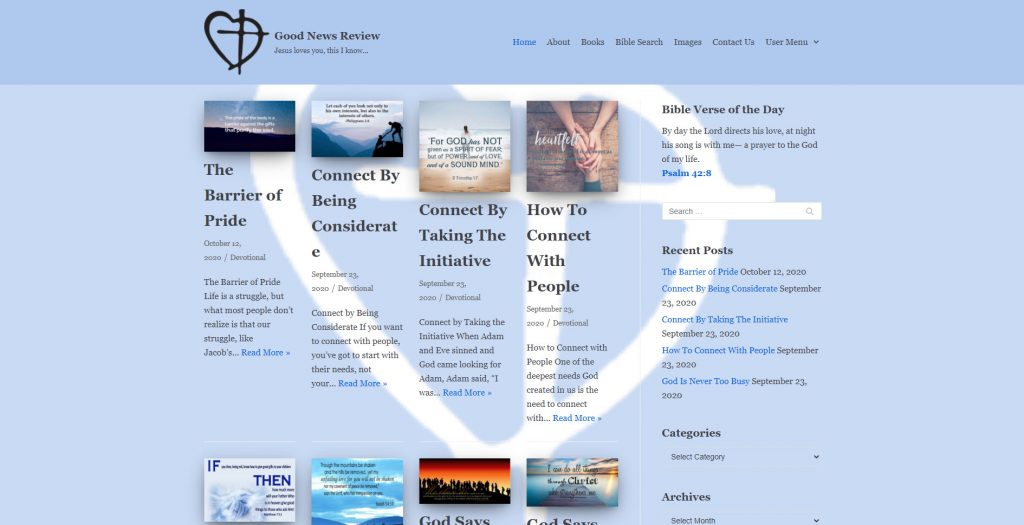 Screenshot of Good News Review Christian Blog Website   Created and maintained by HBB Website Solutions